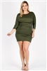 Plus size 3/4 sleeve Solid Dress 1049-X-Olive-6pc