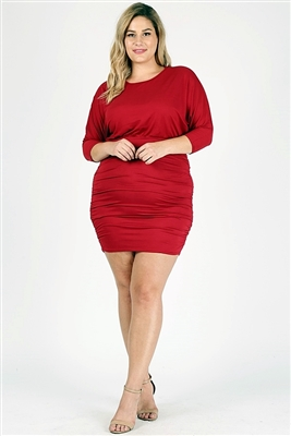 Plus size 3/4 sleeve Solid Dress 1049-X-Ruby-6pc