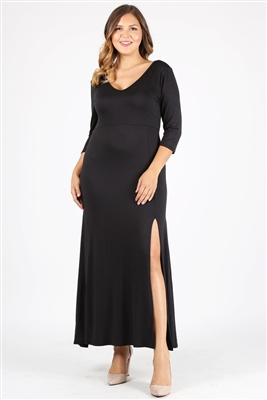 PLUS SIZE V-Neck Maxi Dress 1052X-Black (6 PC)