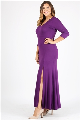 PLUS SIZE V-Neck Maxi Dress 1052X-Eggplant(6 PC)