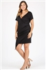 Plus size asymmetrical faux-wrap Dress 1054-X-black 6pc