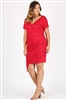 Plus size asymmetrical faux-wrap Dress 1054-X-crimson 6pc