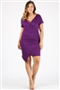 Plus size asymmetrical faux-wrap Dress 1054-X-eggplant-6pc