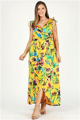 Plus size Faux wrap floral Print Maxi dress 1058X-MST-RYL-6pc