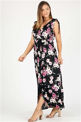 Plus size Faux wrap floral Print Maxi dress 1058XBLK-MAV-6pc