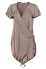 Woven Cross Over V Neck Wrap Dress with Drawstring 1101-OLIVE (6 PC)