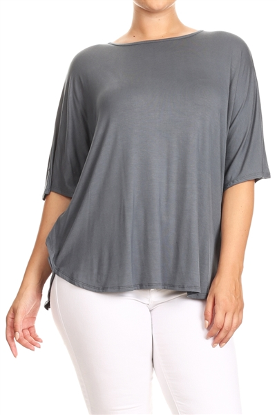 PLUS SIZE SOLID DOLMAN RAYON TOP 4040X-char (6 PC)