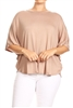 PLUS SIZE SOLID DOLMAN RAYON TOP 4040X-Mocha (6 PC)