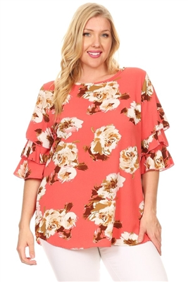 Plus Size Tiered Layered Sleeve Floral Top 4073FX-CORAL-TAUPE (6 PC)