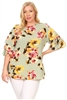 Plus Size Tiered Layered Sleeve Floral print Top 4073FX-SAGE-CORAL (6 PC)