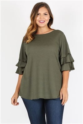 Plus Size Tiered Layered Sleeve Solid Top 4073X-Olive(6 PC)