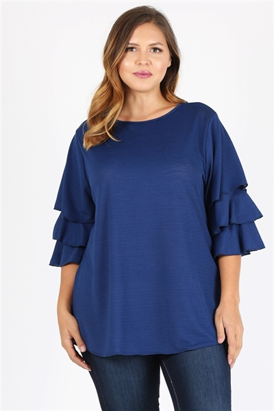 Plus Size Tiered Layered Sleeve Solid Top 4073X-Navy(6 PC)