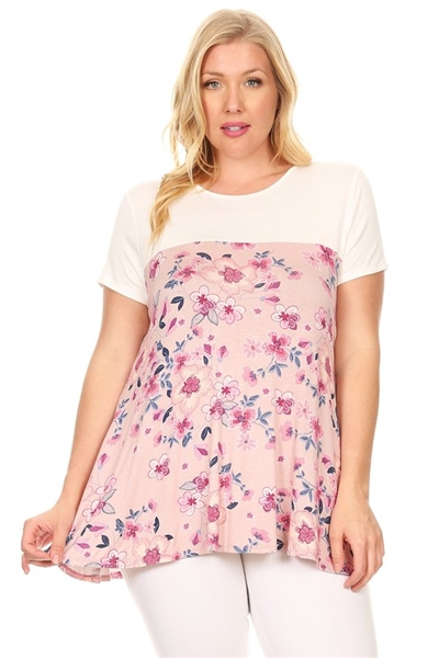 Plus Size Two Tone Floral Top 4075X-MAUVE (6 PC)