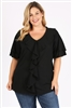 Plus Size Knit Polka Dot Ruffle Top 4076X-BLACK (6 PC)