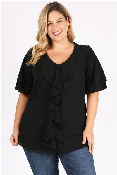 Plus Size Knit Solid Ruffle Top 4076X-Black(6 PC)