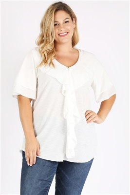 Plus Size Knit Polka Dot Ruffle Top 4076X-WHITE (6 PC)