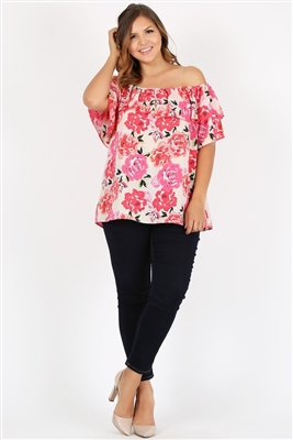 Plus Size Off Shoulder Floral Top 4078XF-Ivory-DK_Rose (6 PC)