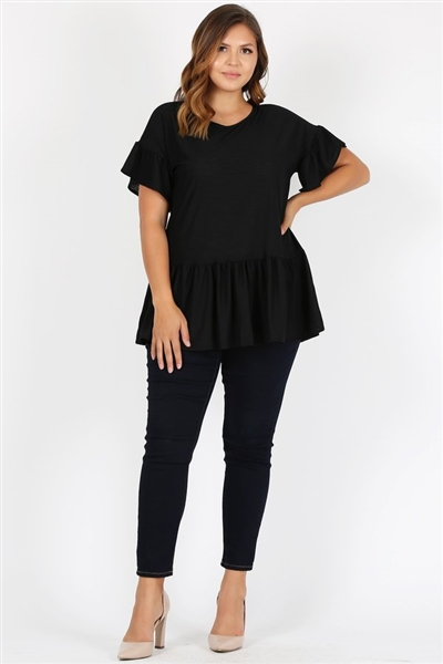Plus Size Ruffle Solid Tunic Top 4079X-BLACK (6 PC)