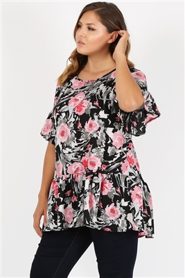 Plus Size Ruffle Floral Tunic Top 4079XF-BLACK PINK (6 PC)