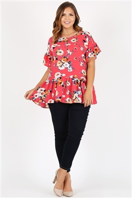 Plus Size Ruffle Floral Tunic Top 4079XF-CORAL RUST (6 PC)