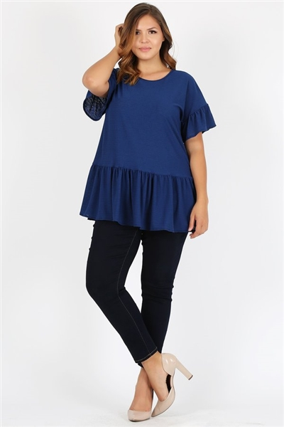 Plus Size Ruffle Solid Tunic Top 4079X-NAVY (6 PC)