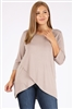 Plus Size 3/4 Sleeve Overlap-hem Solid top 4085X-Ash-Khaki(6pc)
