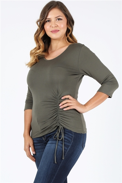 Plus Size 3/4 Sleeve Drawstring Top 4090-X-Olive-(6pc)