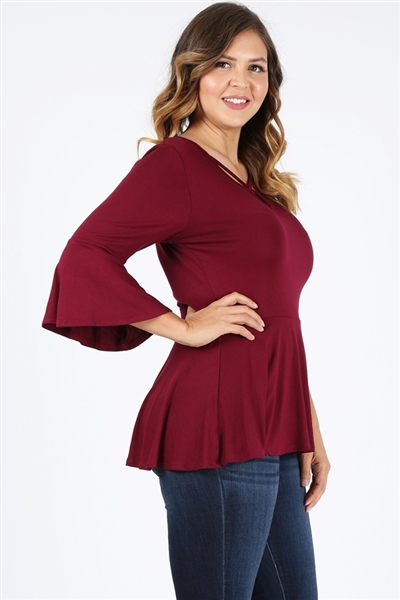 Plus Size Bell-Sleeves Top 4092-X-Burgundy-(6pc)