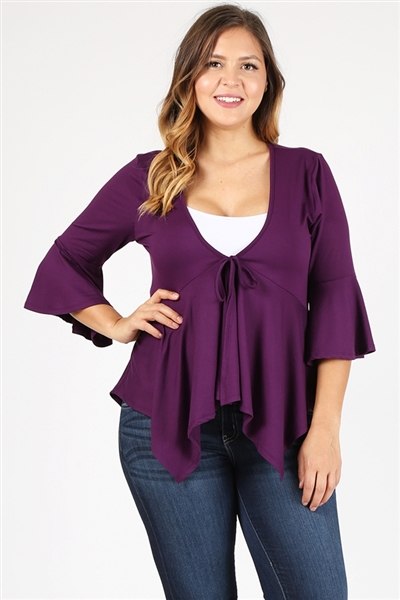 PLUS SIZE BABY-DOLL CARDIGAN TOP 4093X-PLUM-(6 PC)
