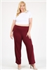 High Waist Plus size relaxed fit pants 4095X-Burgundy-(6 PC)