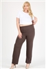 High Waist Plus size relaxed fit pants 4095X-Charcoal-(6 PC)