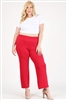High Waist Plus size relaxed fit pants 4095X-Crimson-(6 PC)