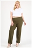 High Waist Plus size relaxed fit pants 4095X-Olive-(6 PC)
