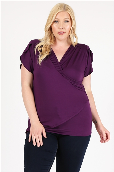 PLUS SIZE RUCHED TOP 4096X-PLUM-(6 PC)