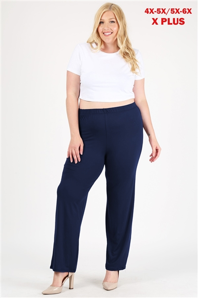 High Waist Plus size relaxed fit pants 4096X-Pants-Navy-(6 PC)