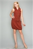 Tencel Zip Up Dress with Drawstring Waist 6290-BURGUNDY (6 PC)