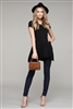 Cap Sleeve Solid Hue Tunic 81001-Black (6 pc)