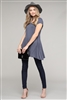 Cap Sleeve Solid Hue Tunic 81001-Charcoal (6 pc)