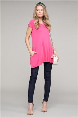 Cap Sleeve Solid Hue Tunic 81001-Coral (6 pc)