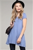 Cap Sleeve Solid Hue Tunic 81001-Denim(6 pc)