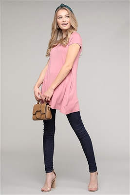 Cap Sleeve Solid Hue Tunic 81001-Mauve(6 pc)