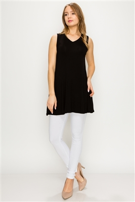 Solid Tank Tunic with side pockets 81002-Black-(6 PC)