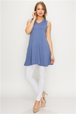 Solid Tank Tunic with side pockets 81002-Denim-(6 PC)