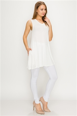 Solid Tank Tunic with side pockets 81002-Ivory-(6 PC)