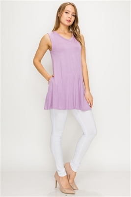 Solid Tank Tunic with side pockets 81002-Violet-(6 PC)