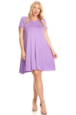 Plus Size solid hue tunic Dress 81043X-Violet-(6 PC)