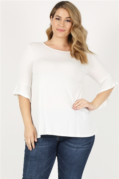 PLUS SIZE 3/4 SLEEVE TOP 84047X-Ivory(6 PC)