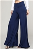 KNIT FOLD-OVER WAIST PALAZZO PANTS 9001-Navy(6 Pc)