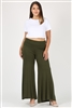 KNIT FOLD-OVER WAIST PALAZZO PANTS 9001X-Olive(6 PC)