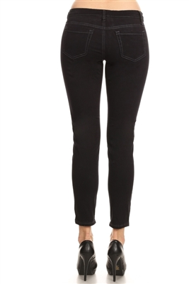 Women 5 pockets classic Denim jeans AMM550-Black